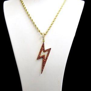 Gold Finish Lab Diamond Lightening Bolt Charm Set